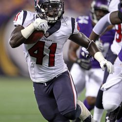 Aug 9, 2013; Minneapolis, MN, USA; Houston Texans running back Cierre Wood (41) carries the ball during the third quarter against the Minnesota Vikings at the Metrodome.