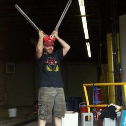 Mike McGarvey doing his best Hell Boy impression with heating coils.