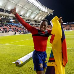 Real Salt Lake midfielder Anderson Julio (29) celebrates the win as Real Salt Lake defeats the LA Galaxy at Rio Tinto Stadium in Sandy on Wednesday, Sept. 29, 2021. RSL won 2-1.