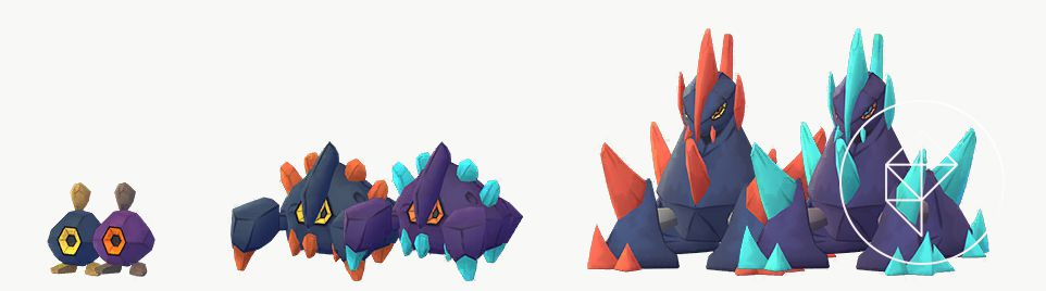 Shiny Roggenrola, Boldore, and Gigalith with their normal forms. Shiny Roggenrola is red and orange. Shiny Boldore and Gigalith have blue crystals instead of orange.