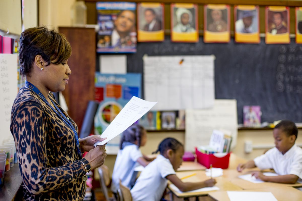 Rynell Sturkey teaches first grade at Detroit's Paul Robeson Malcolm X Academy.