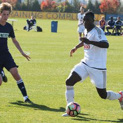 Freeman Dwamena dribbles the ball out of the back for the Union