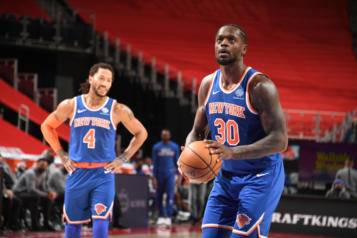 Julius Randle of the New York Knicks shoots a free throw during the game against the Detroit Pistons on February 28, 2021 at Little Caesars Arena in Detroit, Michigan.
