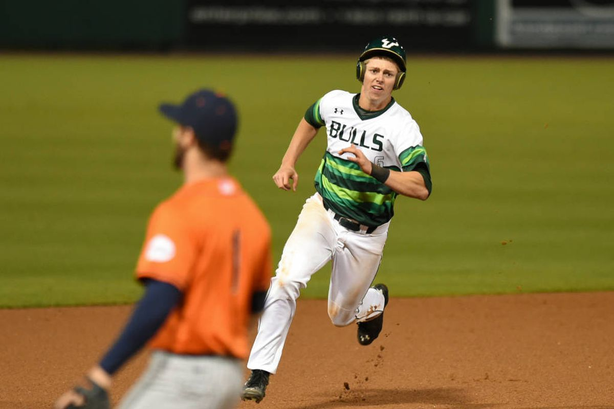 Kevin Merrell getting into scoring position in USF's upset win over Cal State-Fullerton on opening night.