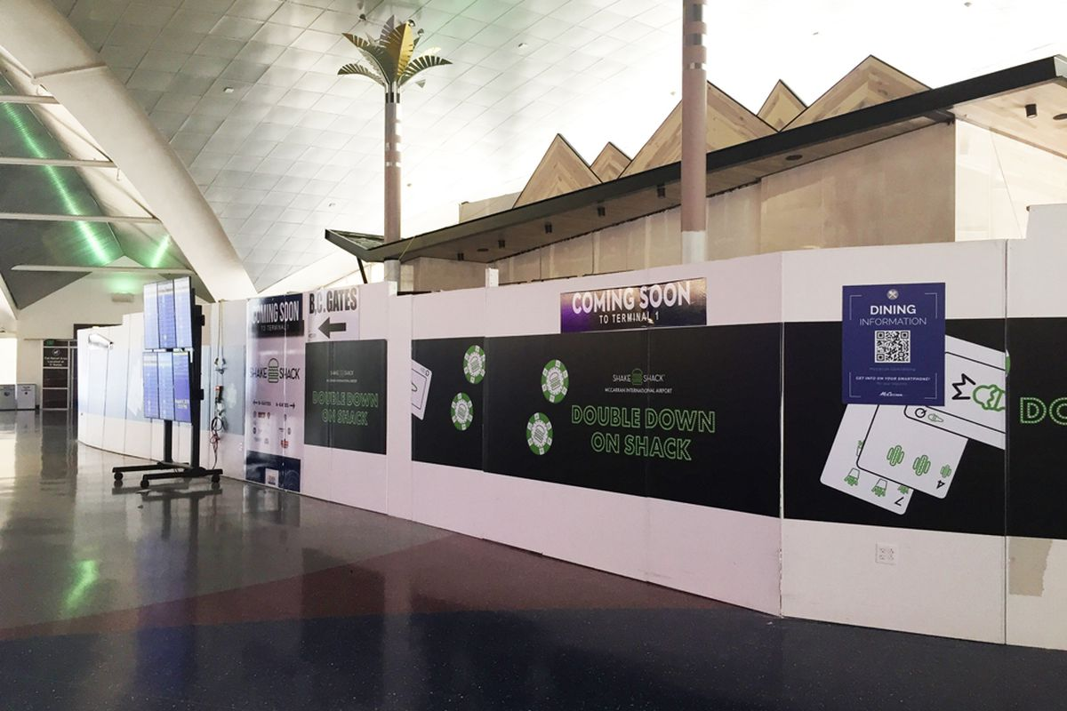 Plywood covering the construction site of the new Shake Shack coming to the McCarran International Airport