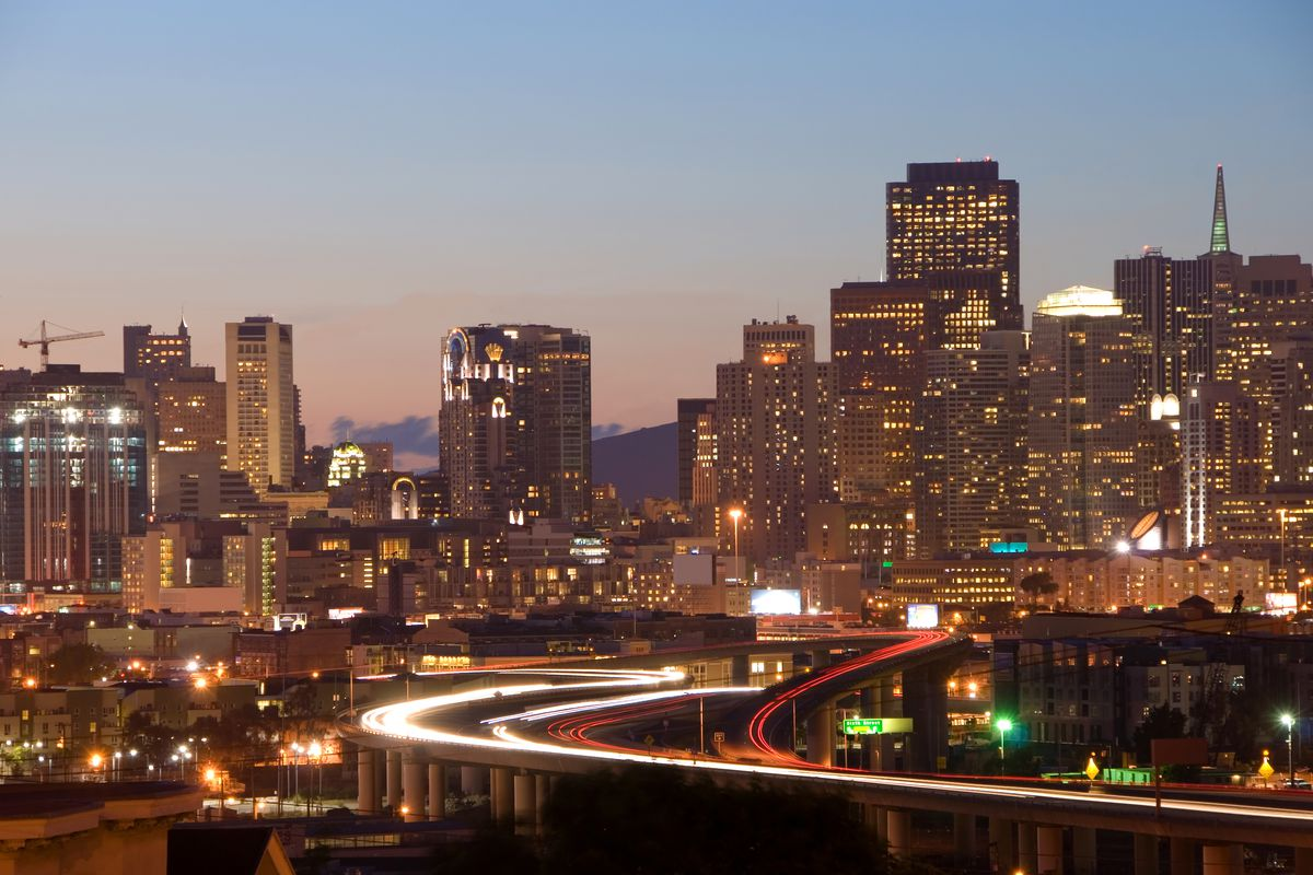 A photo of the SF skyline at night from Potrero Hill.