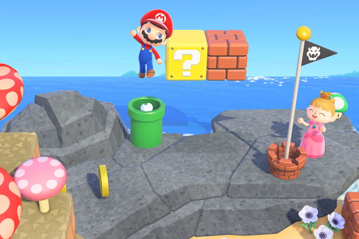 The Super Mario 35th anniversary items in Animal Crossing: New Horizons.