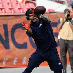 Broncos WR Jordan Leslie warms up before the pads come on.