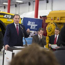 Gov. Gary Herbert announces a new Utah Diesel Technician Pathways program for prospective students to enter the diesel technician field at the Cummins Rocky Mountain facility in West Valley City on Tuesday, Feb. 2, 2016. The program will grant students an internship at one of the industry partners upon graduation.