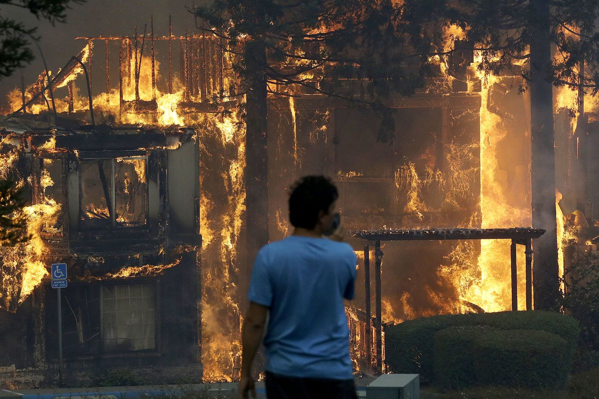 Rudy Habibe From Puerto Rico Stands By The Burning Hilton Sonoma Wine Country Hotel Where He Was A Guest Photo Ap Jeff Chiu