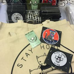 Stay Home Club had the cool pin, patch, and tote game on lock.