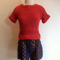 Coral Cotton Knit Crochet Sweater $357 and Pueblo Short $199