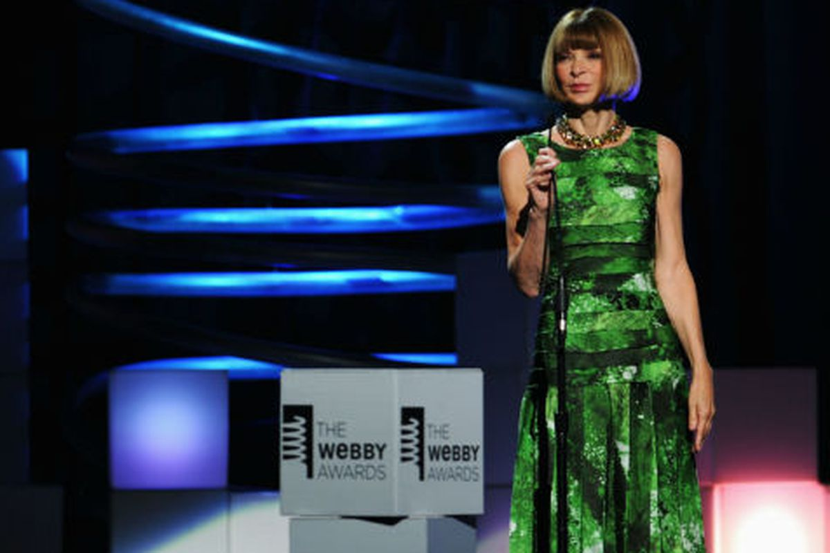 Anna Wintour at last year's Webby Awards ceremony in NYC, where Vogue.com won the people's choice in the fashion category