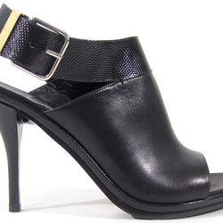 Balenciaga black leather lizard-strap slingback sandals