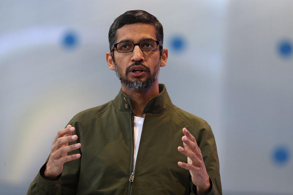 Google CEO Sundar Pichai speaking at Google I/O