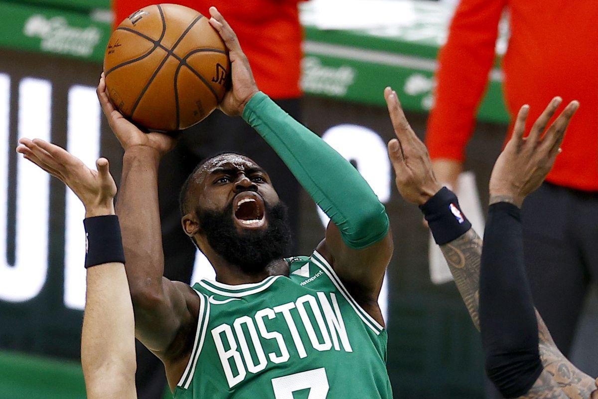 Jaylen Brown of the Boston Celtics takes a shot against the Atlanta Hawks during the second half at TD Garden on February 17, 2021 in Boston, Massachusetts.