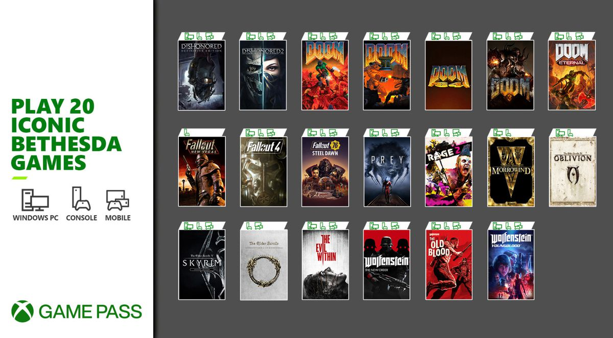 title card showing box art for 20 games that will be on Xbox Game Pass
