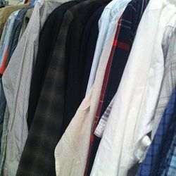 A small sampling of the loads of men's shirting