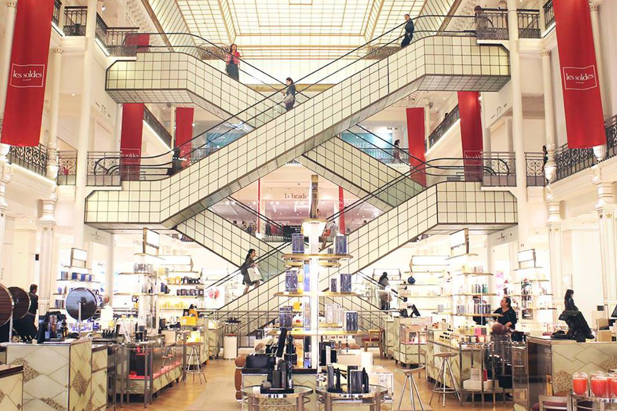 The interior of the department store.