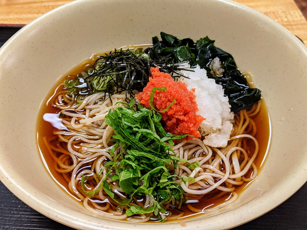 Cold soba noodles from Ichimiann