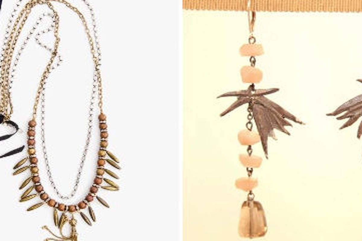 Necklace by Decolette and earrings by Draugsvold—two designers on show at Vionnet tonight.
