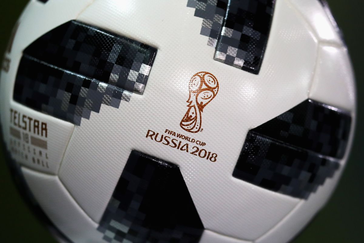 A soccer ball with the 2018 World Cup logo