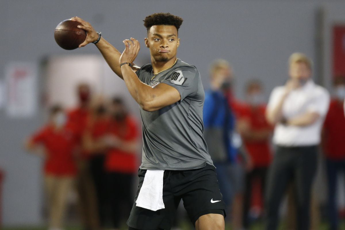 """Bears first-round draft pick Justin Fields (throwing during Ohio State's pro day on March 30) said he already feels he's built a relationship with Bears coach Matt Nagy during the draft process. """"I think I fit perfectly"""" in Nagy's offense, he said."""