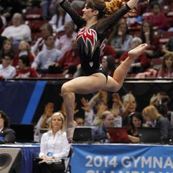 Utah's Nancy Damianova competes in the floor exercise during the NCAA women's gymnastics championships Friday, April 18, 2014, in Birmingham, Ala. (AP Photo/Butch Dill)