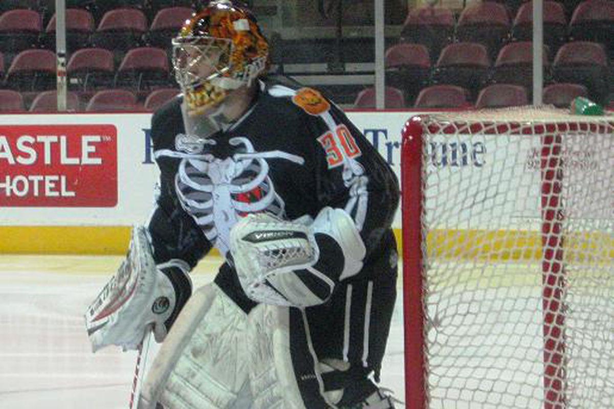 Sundogs' goalie David Brown in the special Halloween jerseys