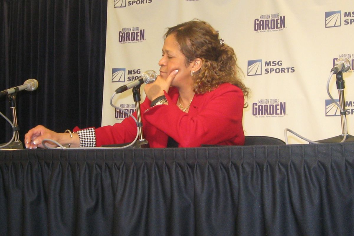 Rutgers women's basketball coach C. Vivian Stringer during her press conference at the Maggie Dixon Classic.