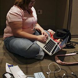Nancy Brown attends the Casual Bloggers Conference on Saturday in Sandy. She was one of 375 bloggers who gathered at the conference to talk about their pastime. Brown blogs about children with special needs.