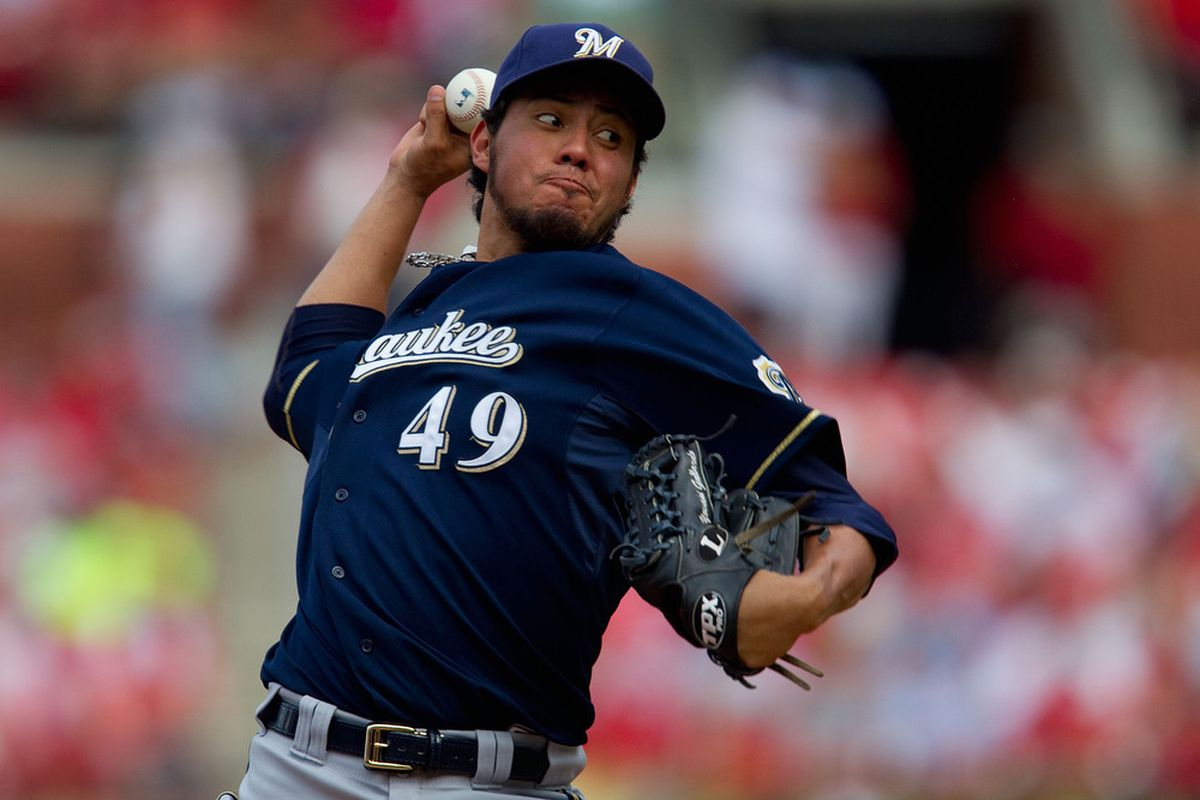 ST. LOUIS, MO - MAY 7: Starter Yovani Gallardo #49 of the Milwaukee Brewers pitches against the St. Louis Cardinals at Busch Stadium on May 7, 2011 in St. Louis, Missouri.  (Photo by Dilip Vishwanat/Getty Images)