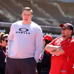 Garrett Bolles speaks with friends after the annual Red & White Spring Game at Rice-Eccles Stadium in Salt Lake City on Saturday, April 15, 2017. Bolles is one of 22 prospects confirmed as attending the NFL draft in Philadelphia. The NFL draft begins April 27.