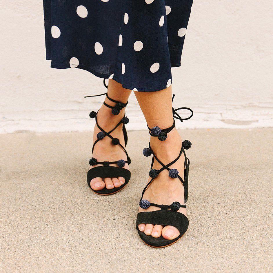 Pom Pom sandals with a block heel