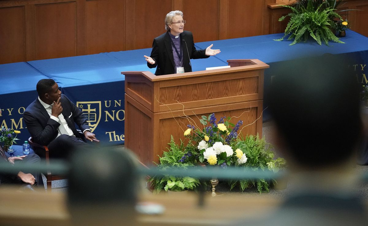 The Rev. Marian Edmonds-Allen, executive director of Parity, speaks during the Notre Dame Religious Liberty Summit at the University of Notre Dame in South Bend, Ind., on Monday, June 28, 2021.