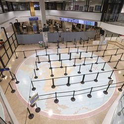 The Salt Lake CIty International Airport is empty after a 5.7 magnitude earthquake centered in Magna caused the airport to be evacuated and closed on Wednesday, March 18, 2020.