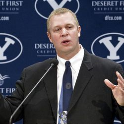 12FTB Signing Day 149.CR2  12FTB Signing Day  February 1, 2012  BYU Head Football Coach Bronco Mendenhall speaks at a Press Conference held in the BYU Broadcast Building during National Signing Day.  Photo by Jaren Wilkey/BYU  ? BYU PHOTO 2012 All Rights Reserved photo@byu.edu  (801)422-7322