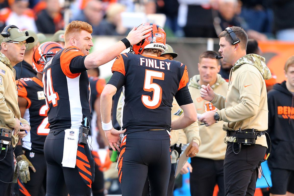 Cincinnati Bengals quarterback Ryan Finley is greeted by quarterback Andy Dalton after throwing a touchdown pass against the Baltimore Ravens during the second quarter at Paul Brown Stadium.