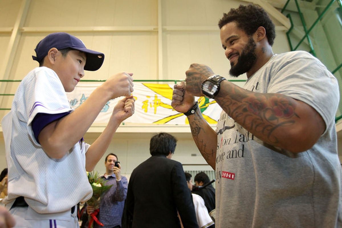 Prince Fielder practices the proper celebration for receiving what will likely be the largest single-season salary in franchise history.