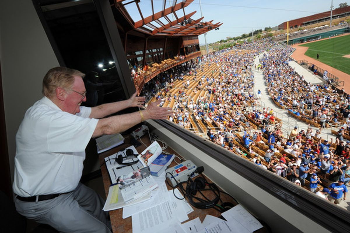 """Vin Scully acknowledged the fans on Sunday at Camelback Ranch (Photo Credit: Jon SooHoo / <a href=""""http://twitpic.com/1a5scr"""" target=""""new"""">LA Dodgers</a>)"""