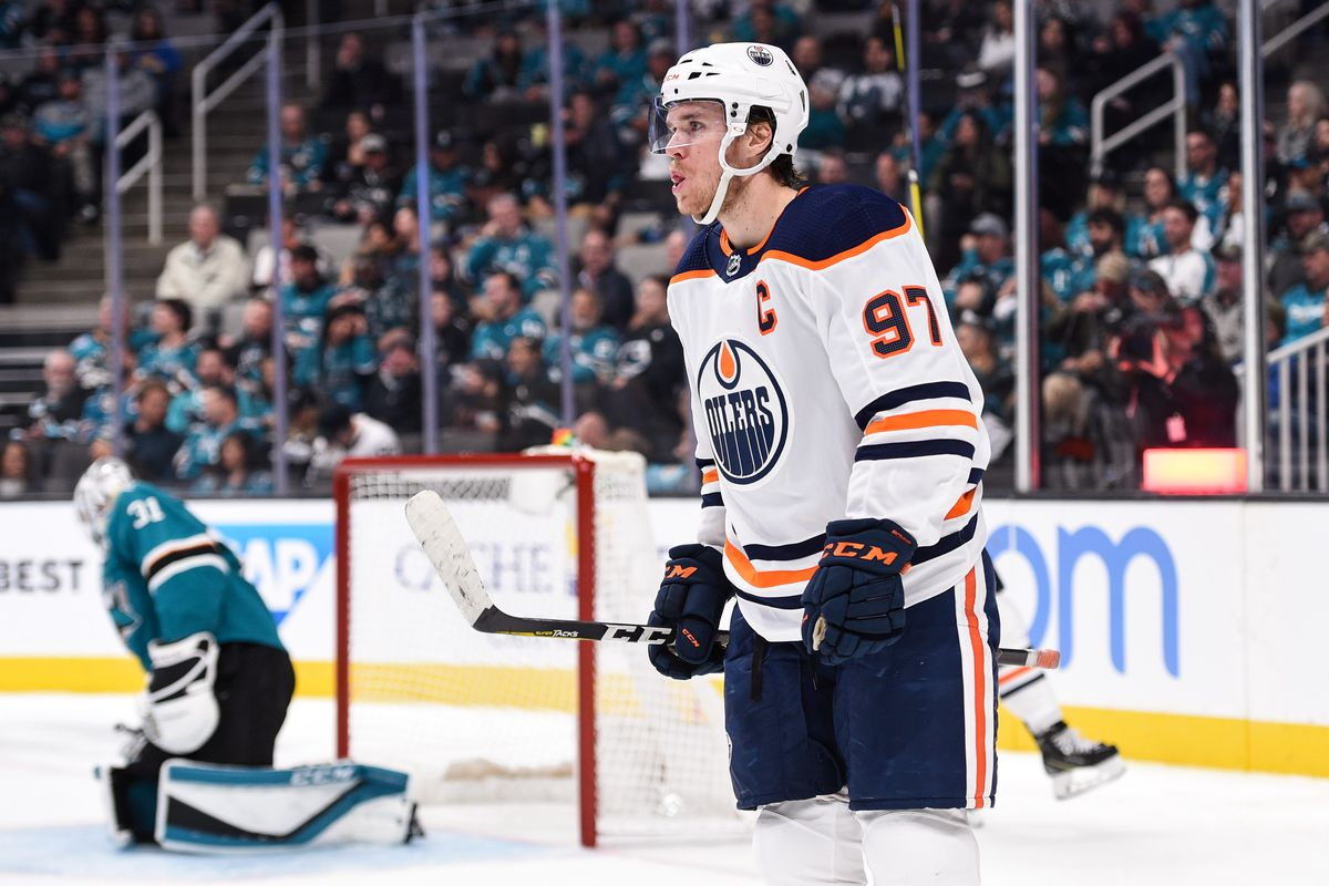 Nov 19, 2019; San Jose, CA, USA; Edmonton Oilers center Connor McDavid (97) reacts after scoring his side's fifth goal against the San Jose Sharks during the third period at SAP Center in San Jose. Mandatory Credit: Cody Glenn
