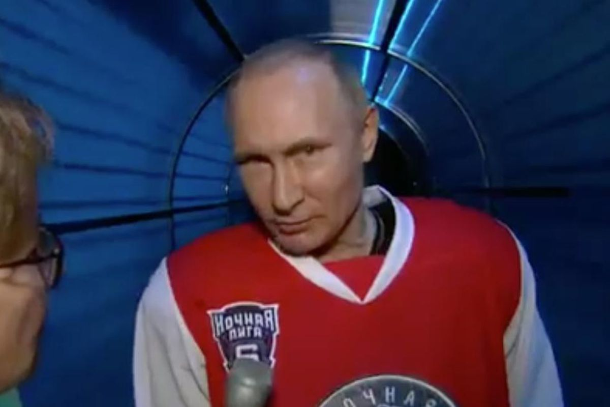 """Putin's """"Hockey Legends"""" squad defeated the Night Hockey League 17-6 in a exhibition game on Wednesday in Sochi, Russia."""