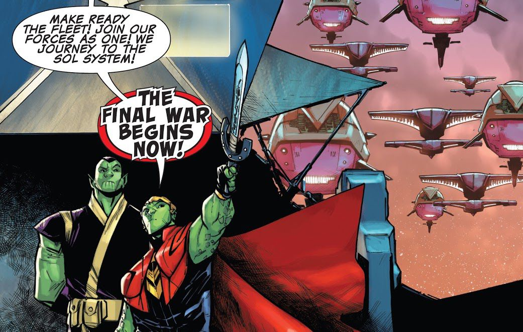 Teddy Altman/Hulkling raises his star-sword and calls the Skrull and Kree armies to a final war on Earth, in Incoming!, Marvel Comics (2019).