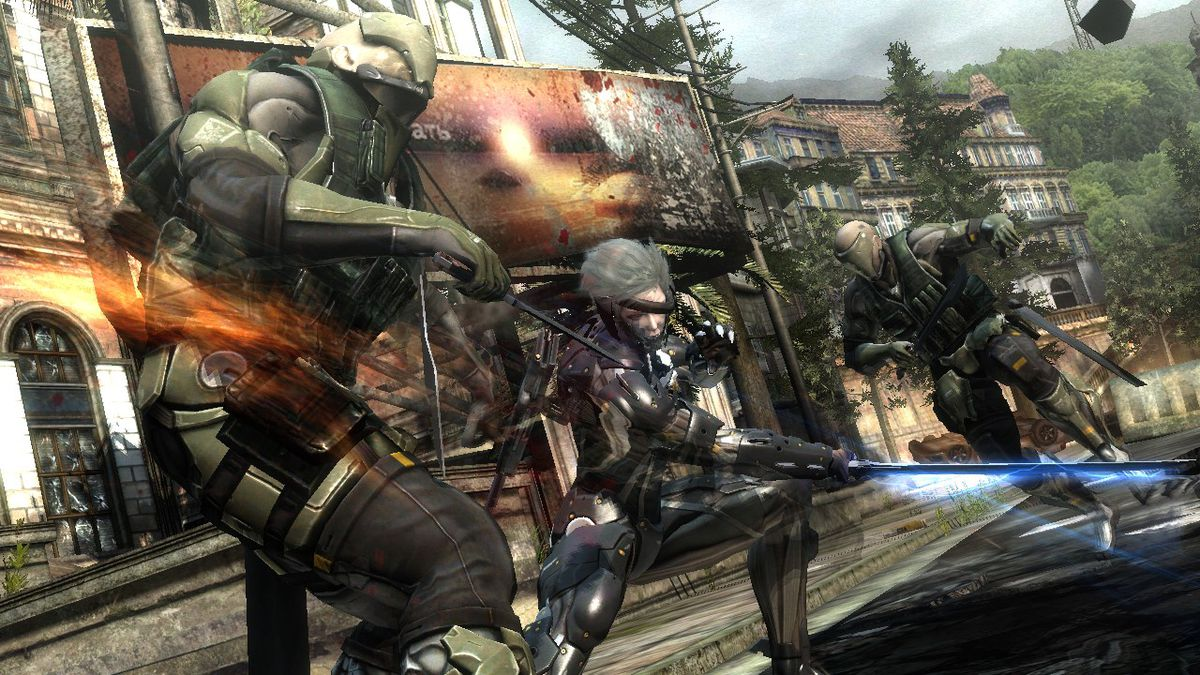 Metal Gear Rising: Revengeance - Raiden slices through soldier