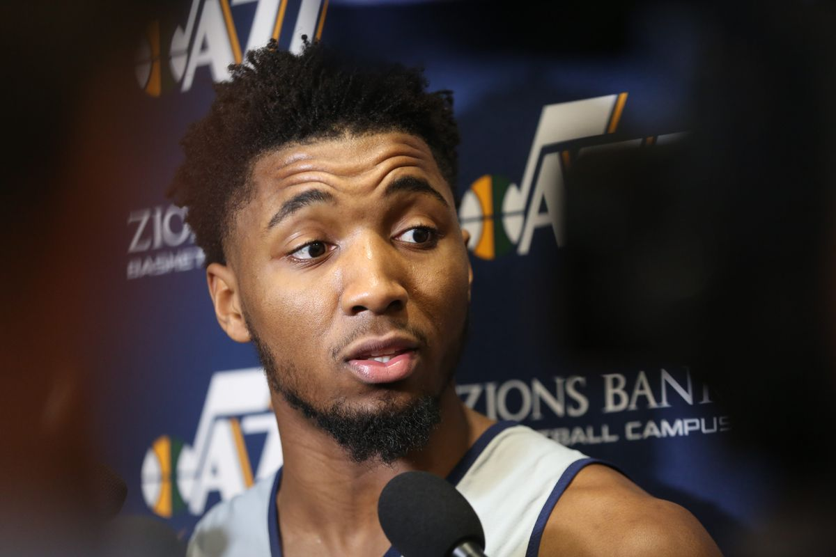 Utah Jazz guard Donovan Mitchell (45) speaks about Kobe Bryant the day after the NBA legend and his daughter died in a helicopter accident in California at Zions Bank Basketball Campus in Salt Lake City on Monday, Jan. 27, 2020.