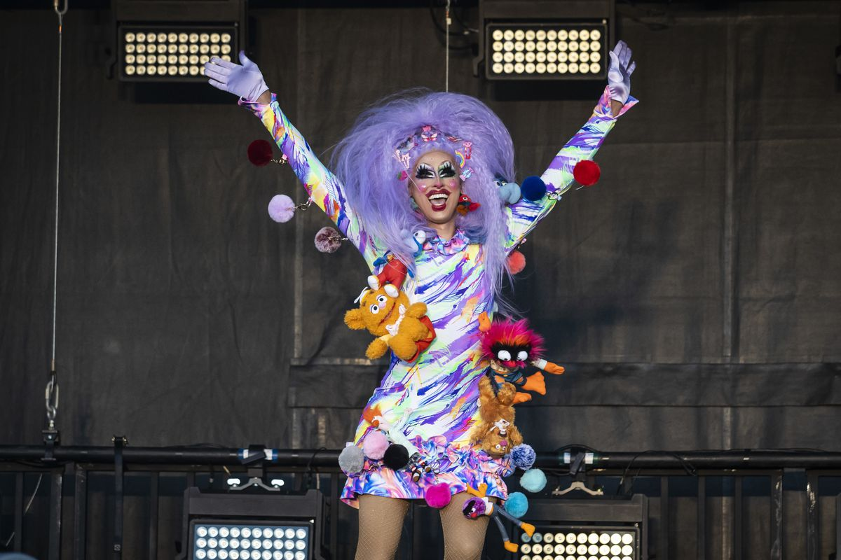 Crystal Methyd performs during Drive 'N Drag presented by Voss Events at Soldier Field, Friday night, Aug. 7, 2020.