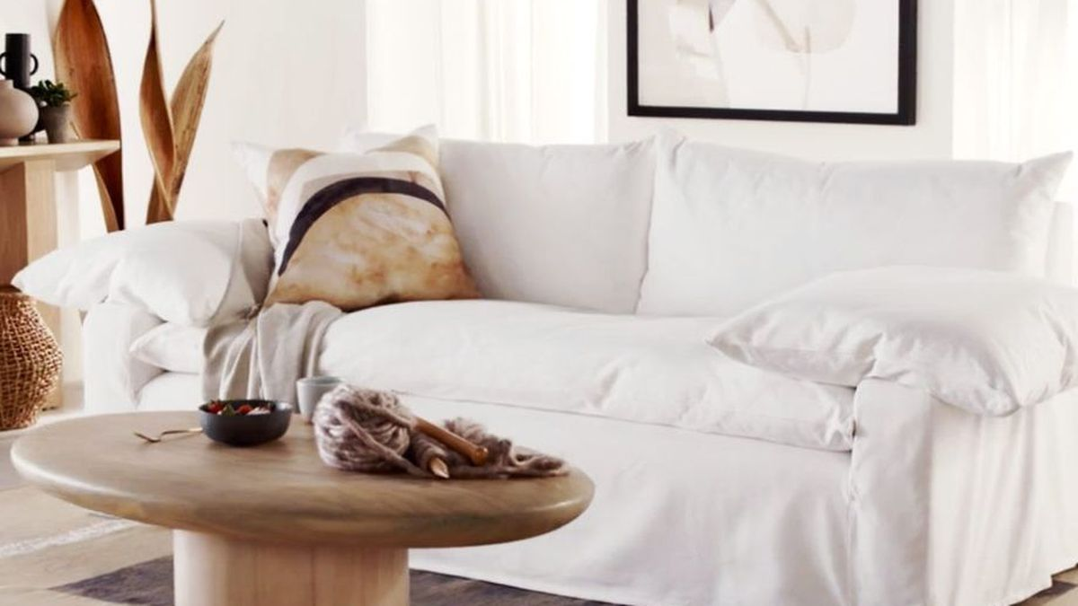 Small white sofa.