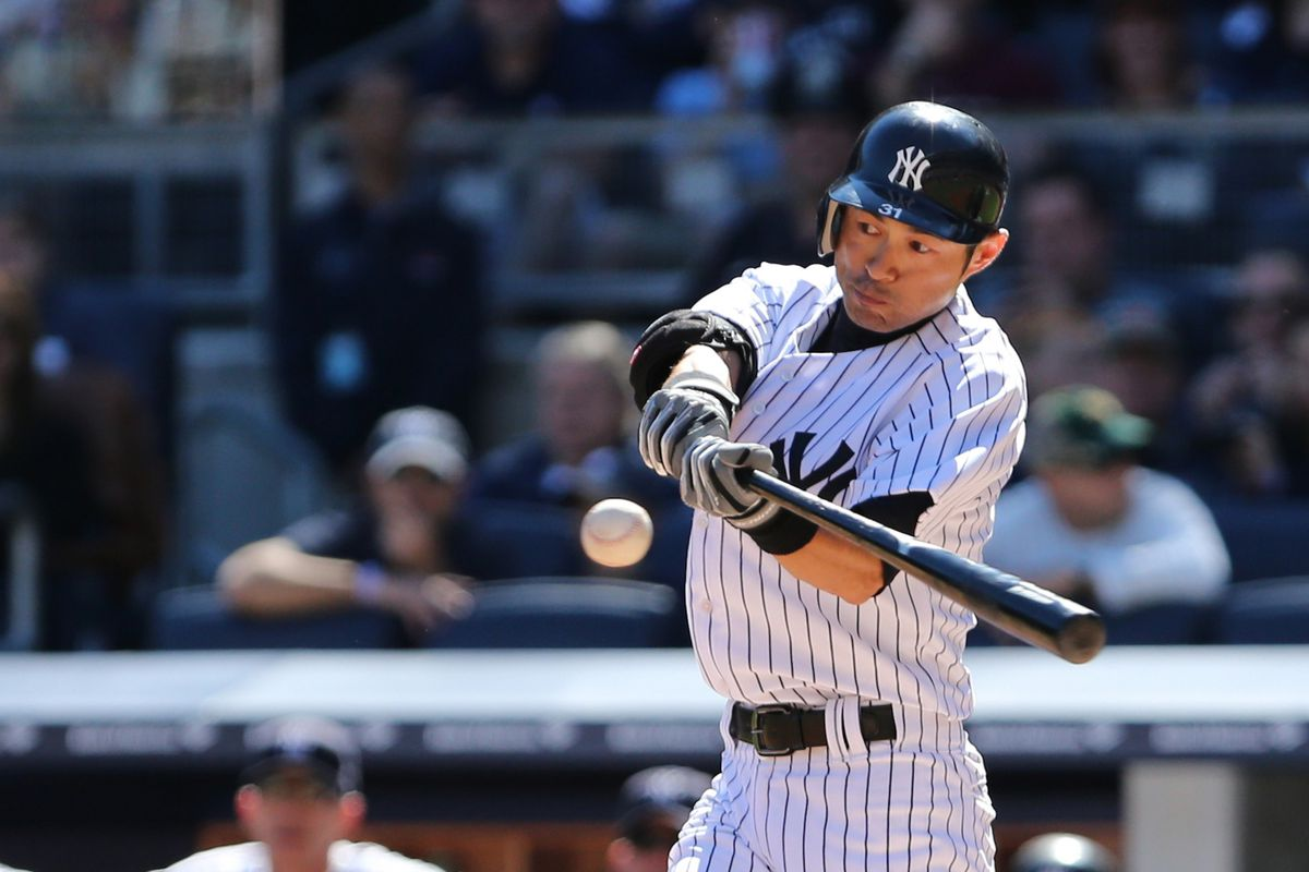 Sep 23, 2012; Bronx, NY, USA;  New York Yankees left fielder Ichiro Suzuki (31) pops out to third during the first inning against the Oakland Athletics at Yankee Stadium. Mandatory Credit: Anthony Gruppuso-US PRESSWIRE