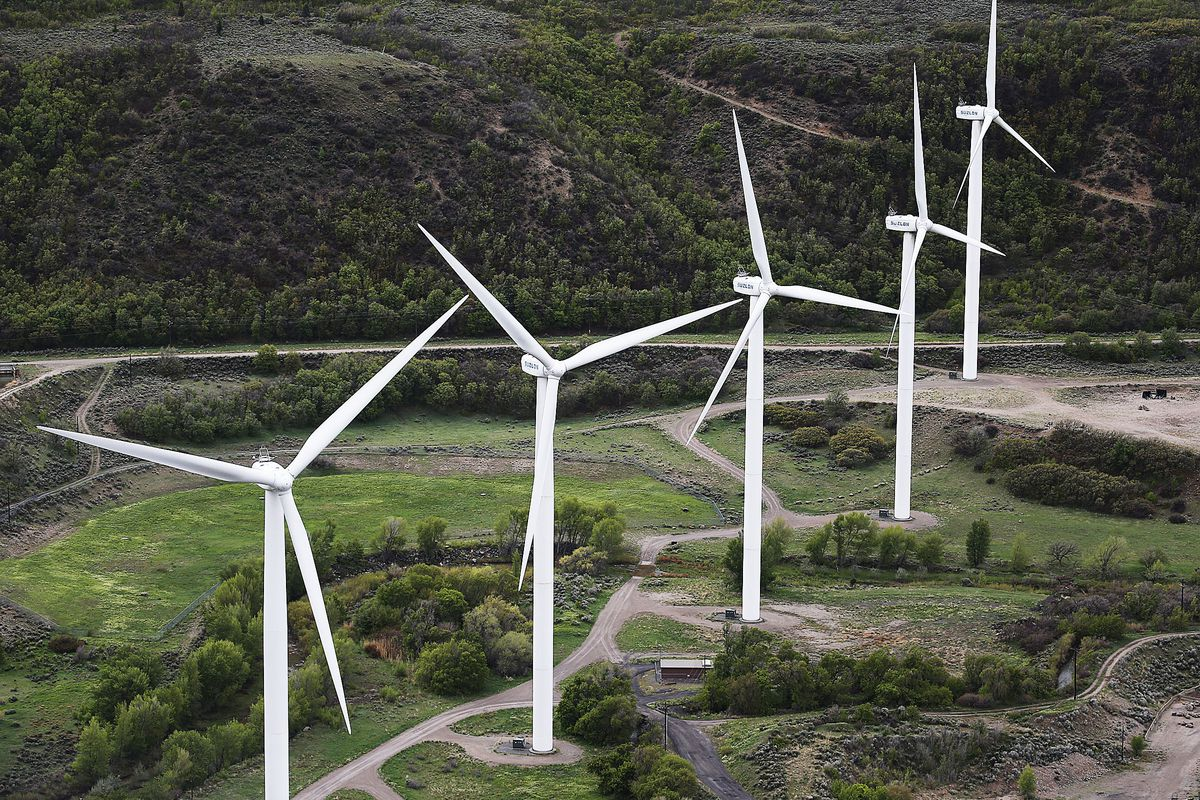 Windmills turn at the mouth of Spanish Fork Canyon on Tuesday, April 26, 2016.