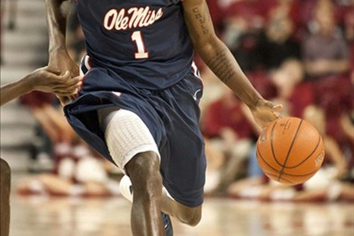 Feb 28, 2012; Fayetteville, AR, USA; Mississippi Rebels forward Terrance Henry (1) dribbles the ball during a game against the Arkansas Razorbacks at Bud Walton Arena.  Mississippi defeated Arkansas 77-75. Mandatory Credit: Beth Hall-US PRESSWIRE